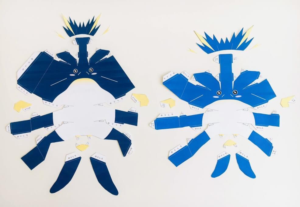 ペンギン親子のペーパークラフト:展開図