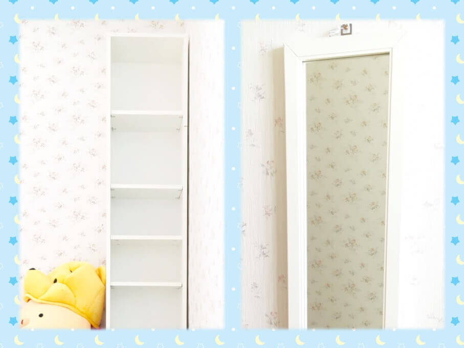 【DIY】ミラー付き収納を壁掛けミラーと飾り棚にチェンジ♪